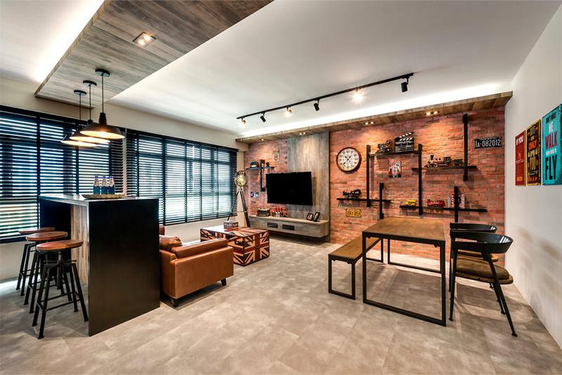 7 sala grande com tijolinho e luminaria trilho preta Dikaza Interiores& Móveis Sob Medida